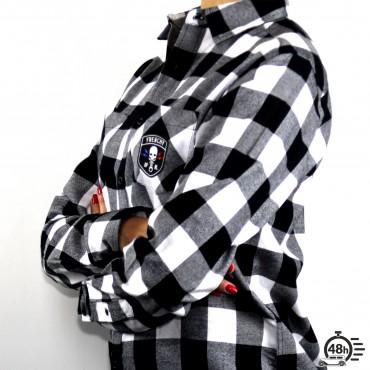 Shirt CLASSIC SKULL checked flanel black & white