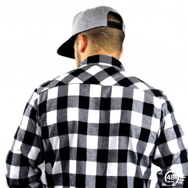 Chemise CLASSIC SKULL flanelle carreaux noire & blanche