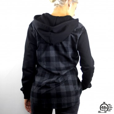 Hooded Shirt CLASSIC SKULL checked flanel black & grey