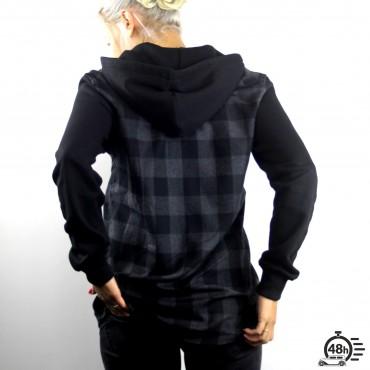 Hooded Shirt CLASSIC SKULL checked flanel black & grey