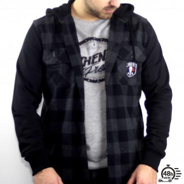 Chemise Hoodie CLASSIC SKULL flanelle carreaux noire & grise