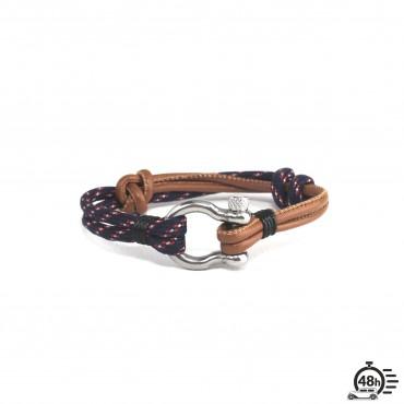 Bracelet Hook réglable tricolore bleu marine