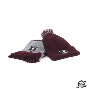 Package CLASSIC SKULL bordeaux scraf & beanie