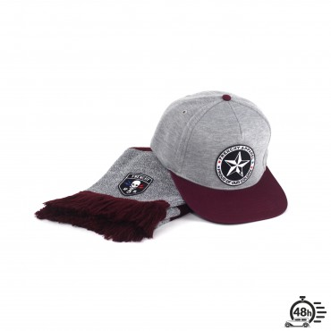 Package CLASSIC SKULL bordeaux scraf & snapback