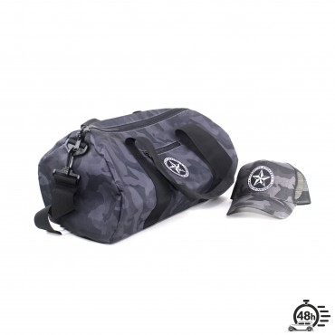 Package STAR bag & trucker cap black camo