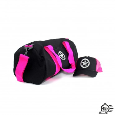 Package STAR bag & trucker cap black & fuschia