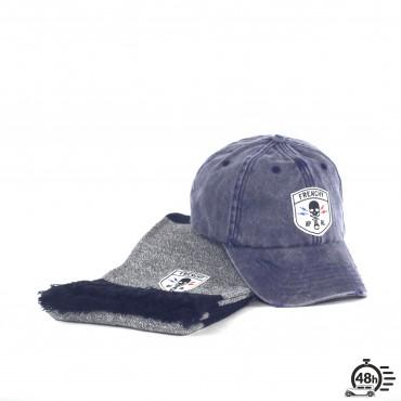 Pack CLASSIC SKULL bleu marine écharpe & casquette