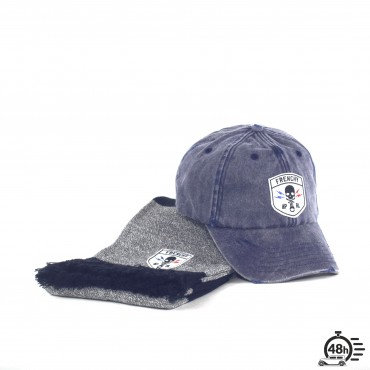 Package CLASSIC SKULL navy blue scraf & cap