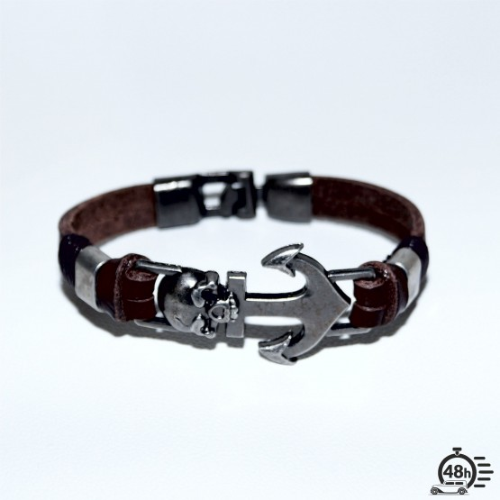 Bracelet Skull Anchor brown