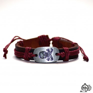 Bracelet Skull adjustable rouge