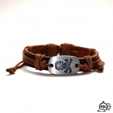 Bracelet Skull adjustable light brown