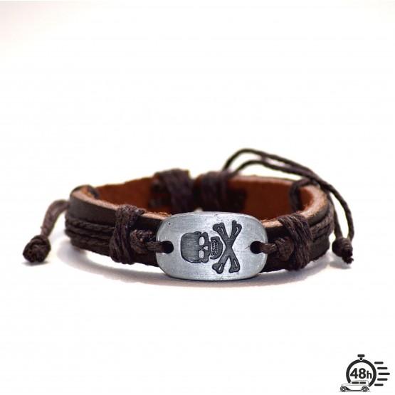 Bracelet Skull adjustable dark brown