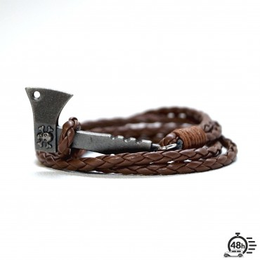 Bracelet Hatchet & Skull brown