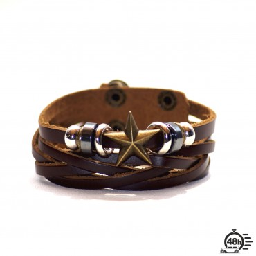 Bracelet adjustable STAR brown