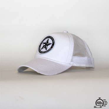Casquette Trucker STAR destroyed effect white