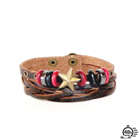 Bracelet adjustable STAR red