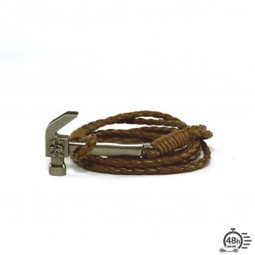 Bracelet Tool & Skull marron