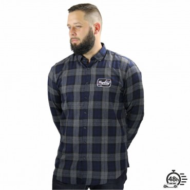 Shirt BLASON checked flanel blue & bordeaux Unisex
