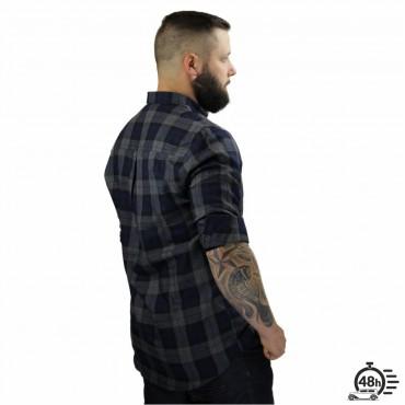 Shirt BLASON checked flanel blue & bordeaux Unisex