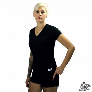 Tshirt RESPECT SKULL black V-neck SS limited serie women