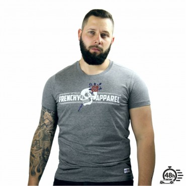Tshirt ROSE SKULL gris MC