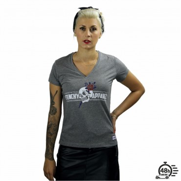 Tshirt ROSE SKULL grey V-neck SS women