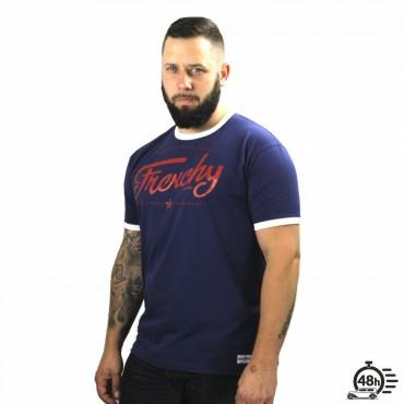 Tshirt LETTERING ringer blue SS