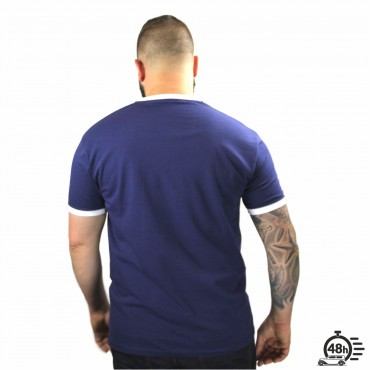 Tshirt LETTERING ringer bleu MC