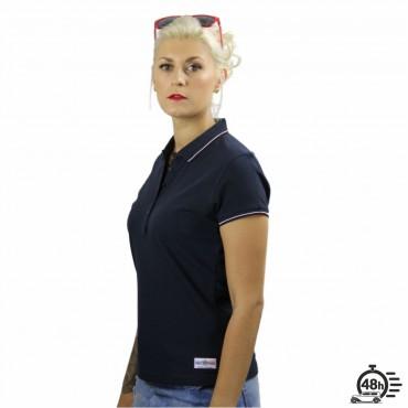 Polo ROSE SKULL marine & bordeaux femme