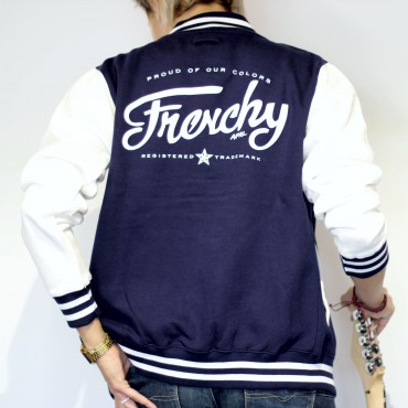 Jacket LETTERING varsity teddy navy MIXED