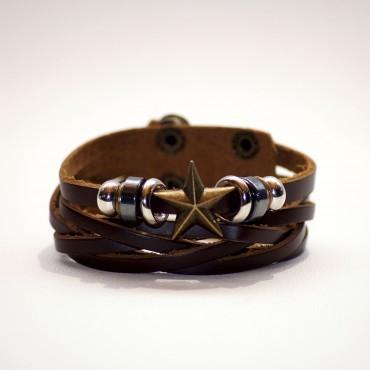Bracelet adjustable STAR brown